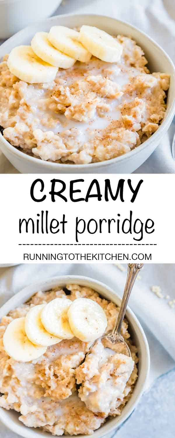 Millet porridge is an easy breakfast recipe and a hearty, comforting start to the day. Naturally gluten-free, easily made in the slow cooker and great for meal prepping for the week. #millet #milletbreakfast #milletporridge