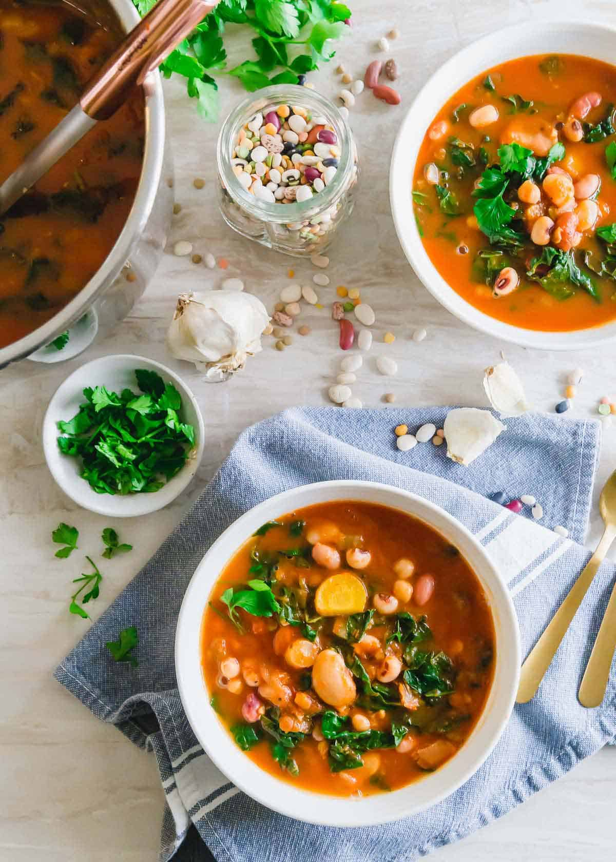 Mixed bean soup made in the Instant Pot with Tuscan kale and a tomato base.