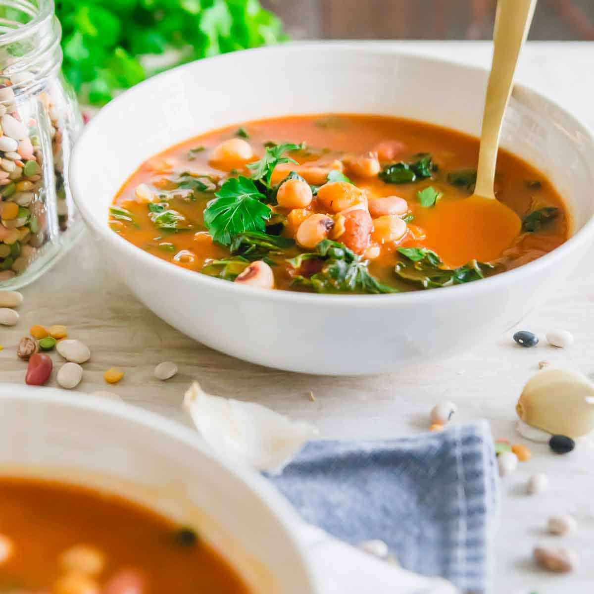 Hearty tomato based pressure cooker bean soup