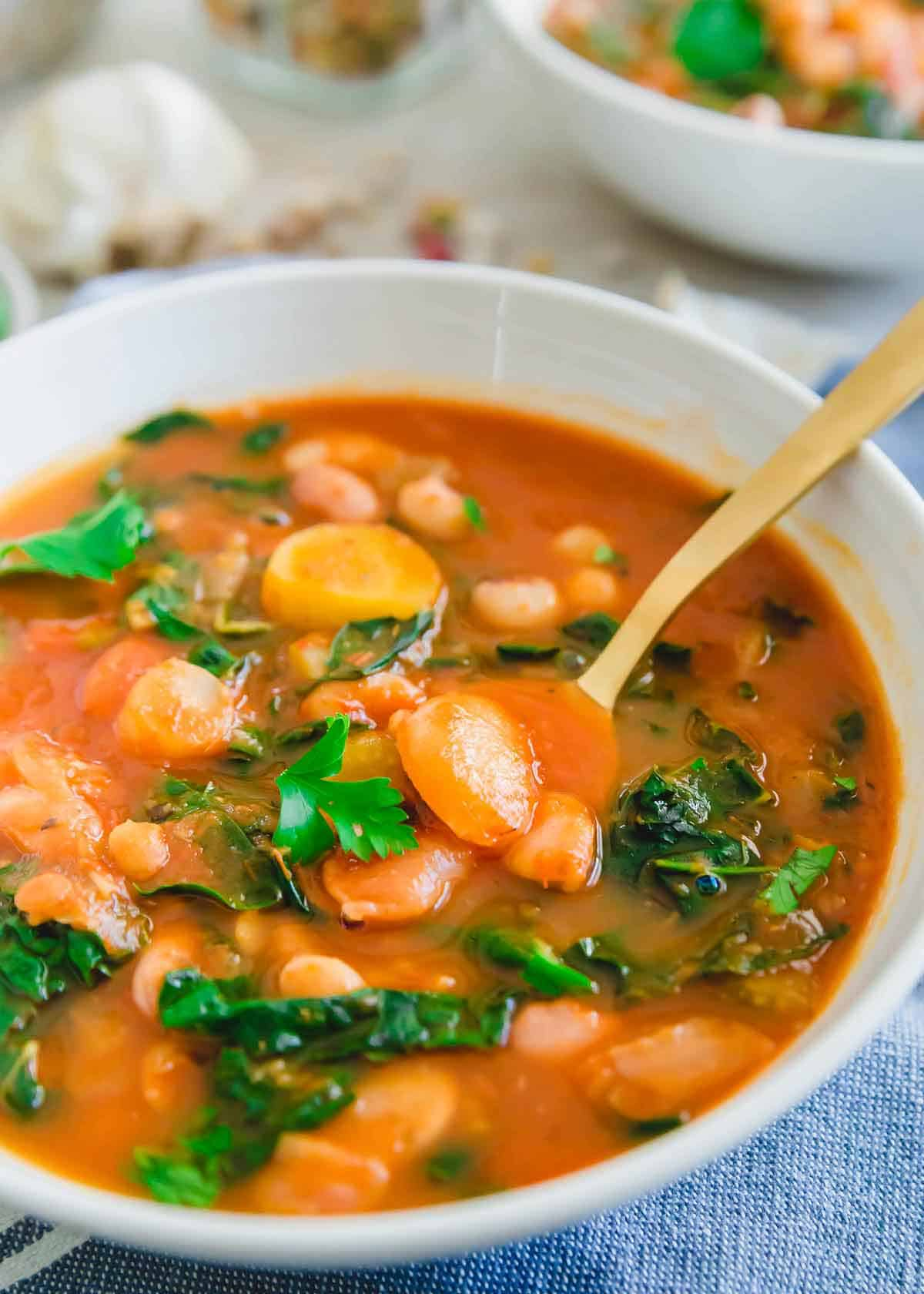 Easy Instant Pot bean soup recipe made with a 13 bean and lentil blend.
