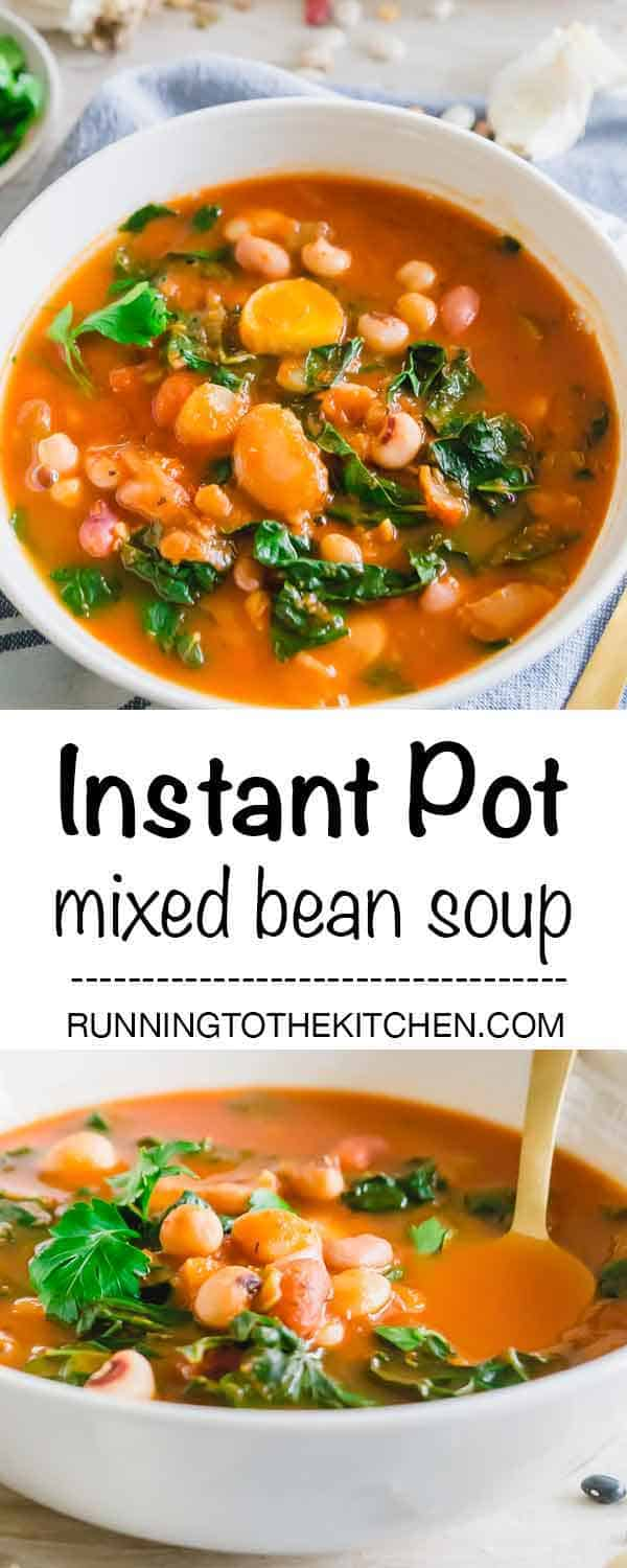 Make this hearty, cozy, vegetarian mixed bean soup in the Instant Pot in just 20 minutes. #InstantPot #InstantPotbeansoup #beansoup
