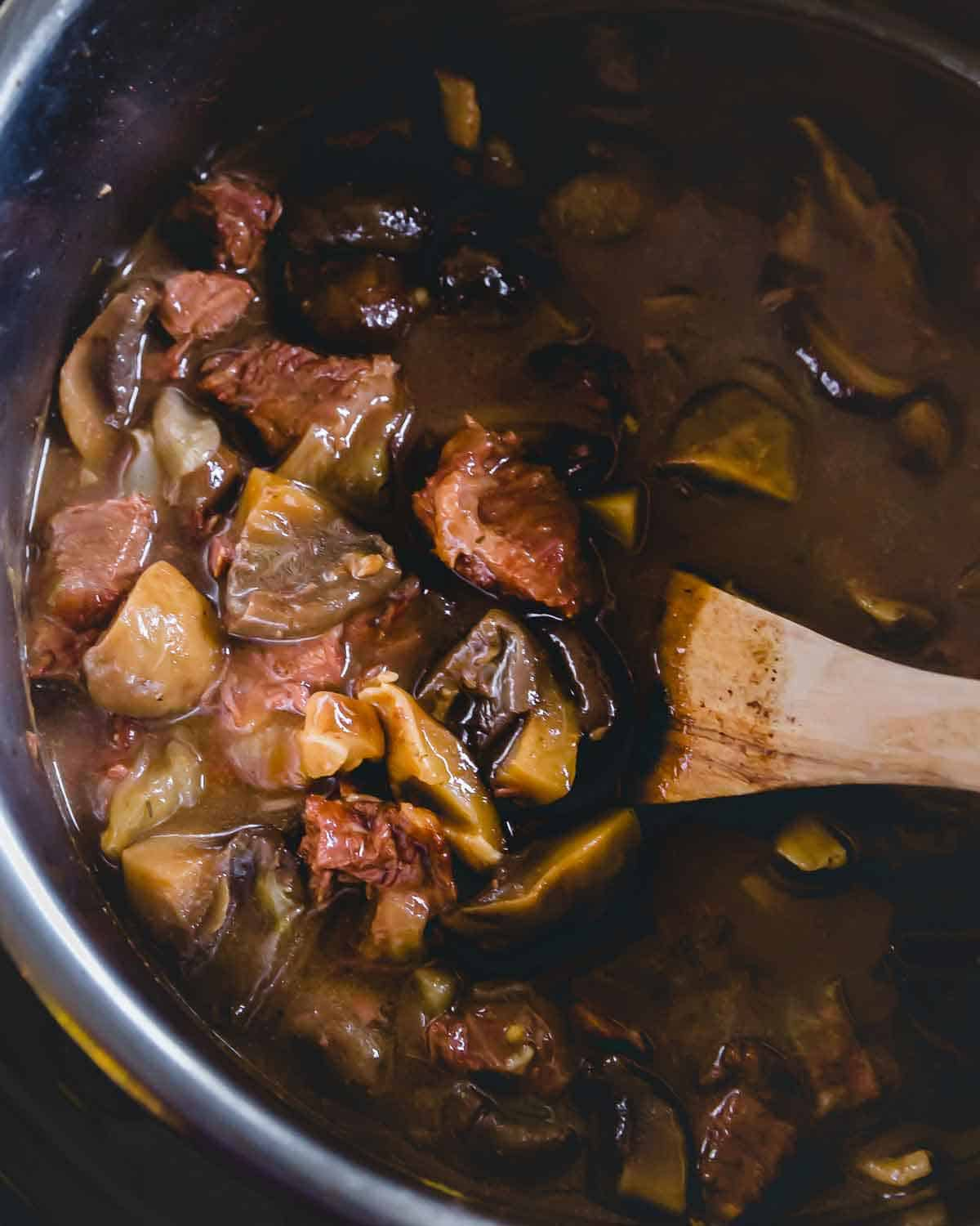Beef and mushroom stew made in the Instant Pot