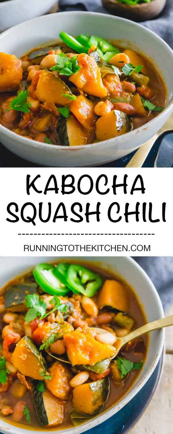 Kabocha squash chili with white beans is an easy vegetarian slow cooker recipe that's hearty, comforting and packed with big flavors. #kabochasquash #kabochasquashchili #slowcookerchili