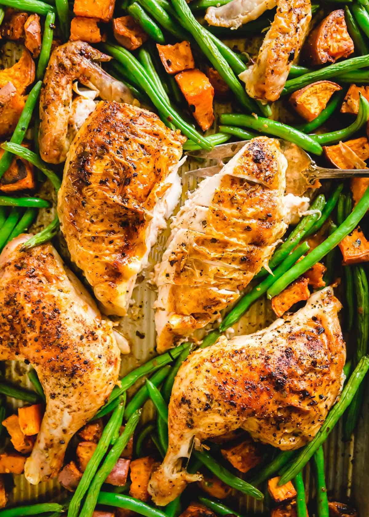 Easy sheet pan piri piri roasted spatchcock chicken recipe.