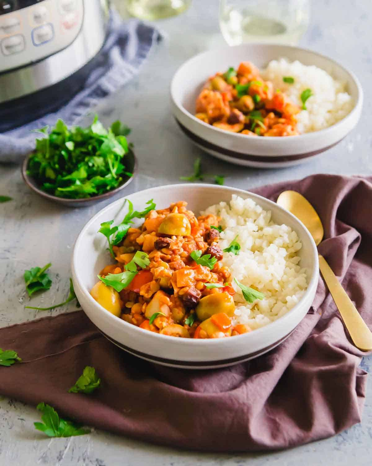 Lentil and tempeh picadillo is a plant based alternative to traditional Cuban picadillo.