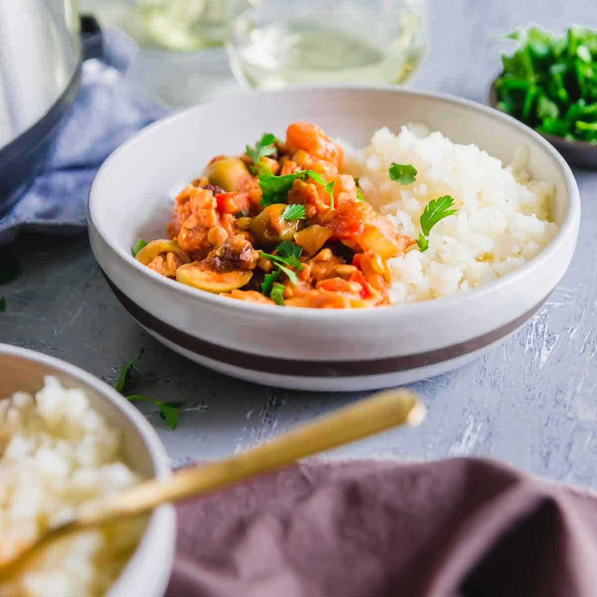 A plant based vegan picadillo recipe made in the Instant Pot or pressure cooker.