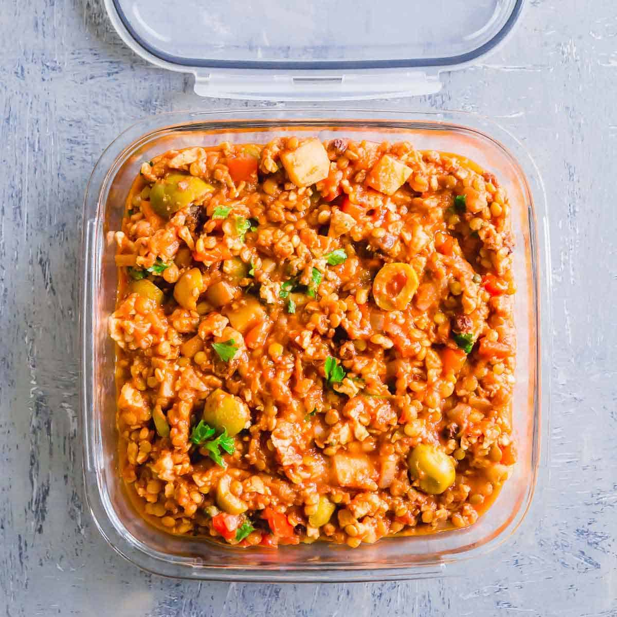 This vegan picadillo is an excellent plant based meal prep recipe full of Cuban/Spanish flavors.