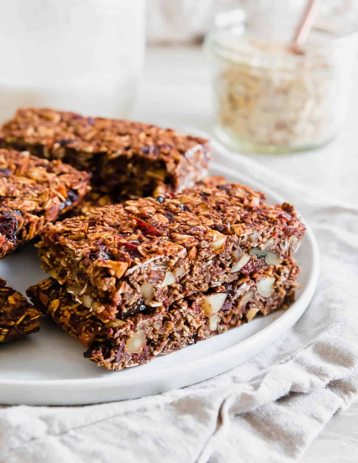 Chocolate granola bars are an easy homemade snack with healthy ingredients.