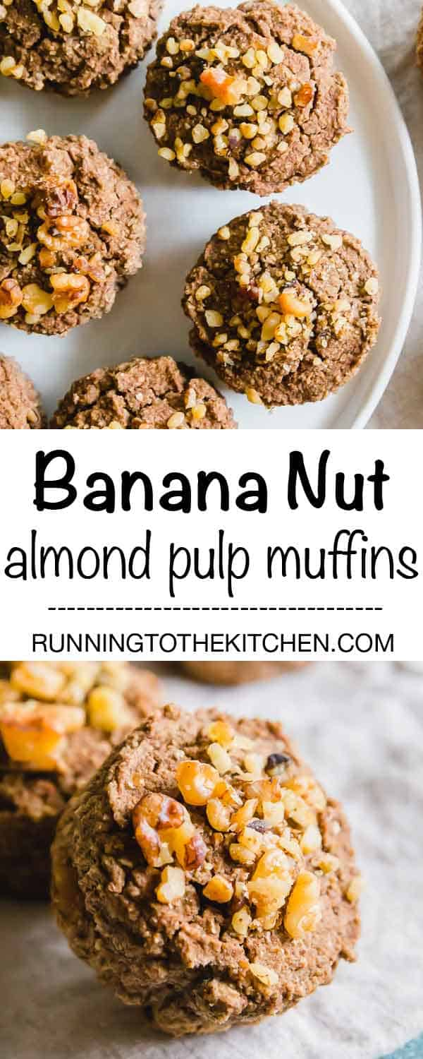 Try these healthy banana nut almond pulp muffins if you're looking for ways to use up leftover almond pulp from making almond milk. The perfect healthy snack that can be frozen for up to a month! #almondpulpmuffins #almondpulp #almondpulprecipes