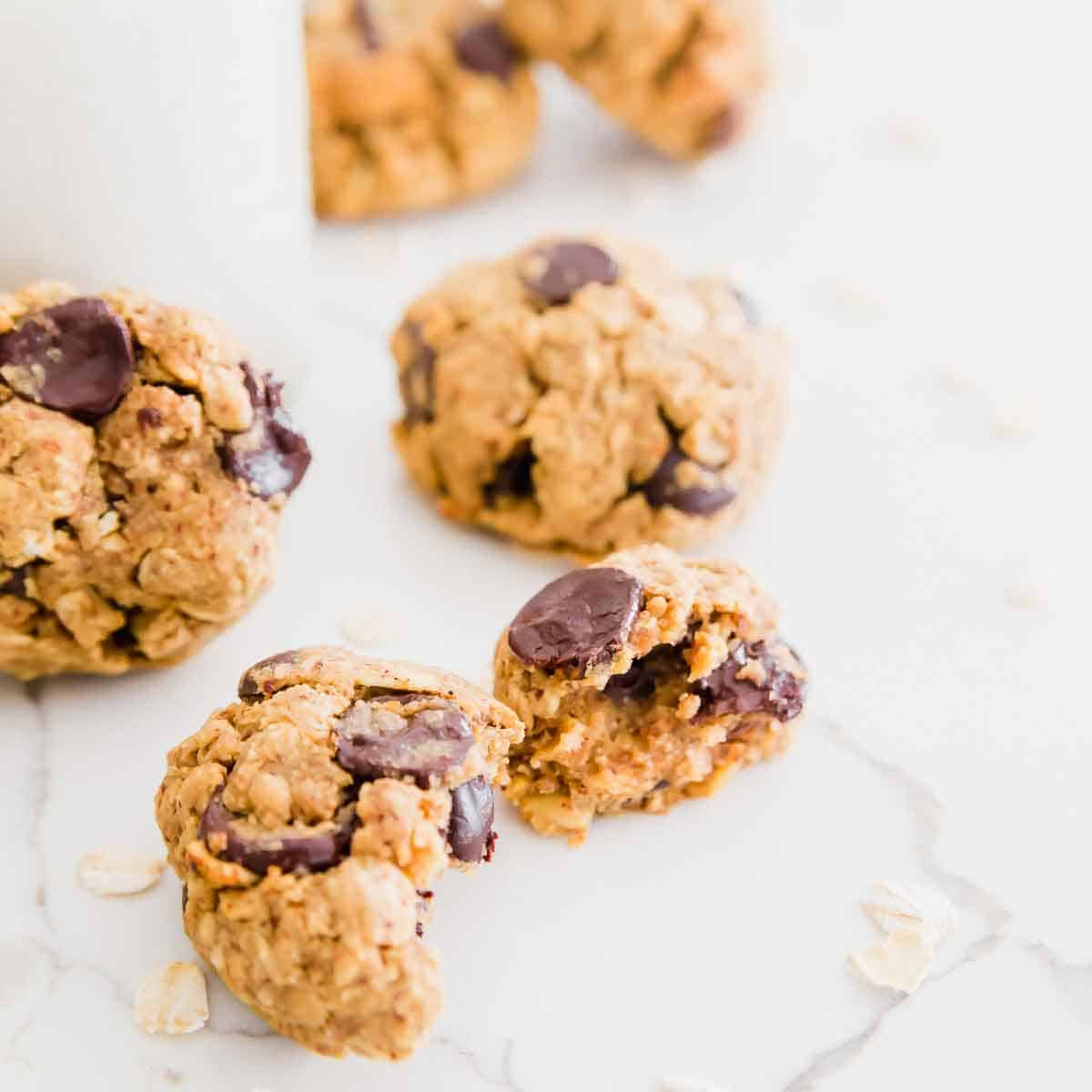 Gluten-free and vegan oatmeal chocolate chip cookies made with almond pulp