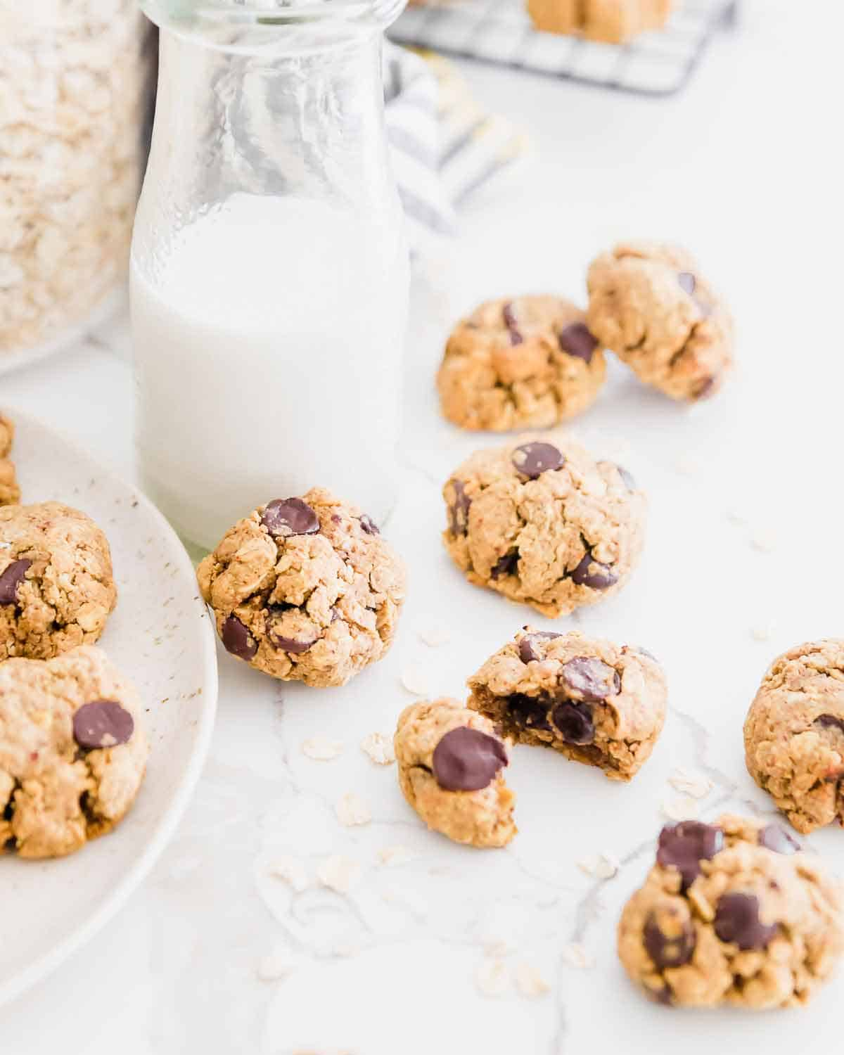 Use leftover almond pulp from homemade almond milk in these easy oatmeal chocolate chip cookies.