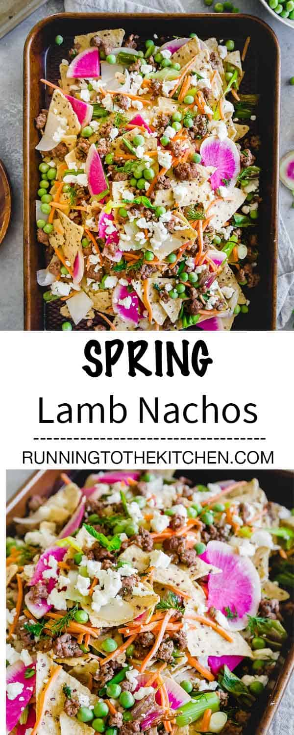 Sheet pan spring nachos with ground lamb, early springs vegetables and lots of feta cheese piled high on tortilla chips.
