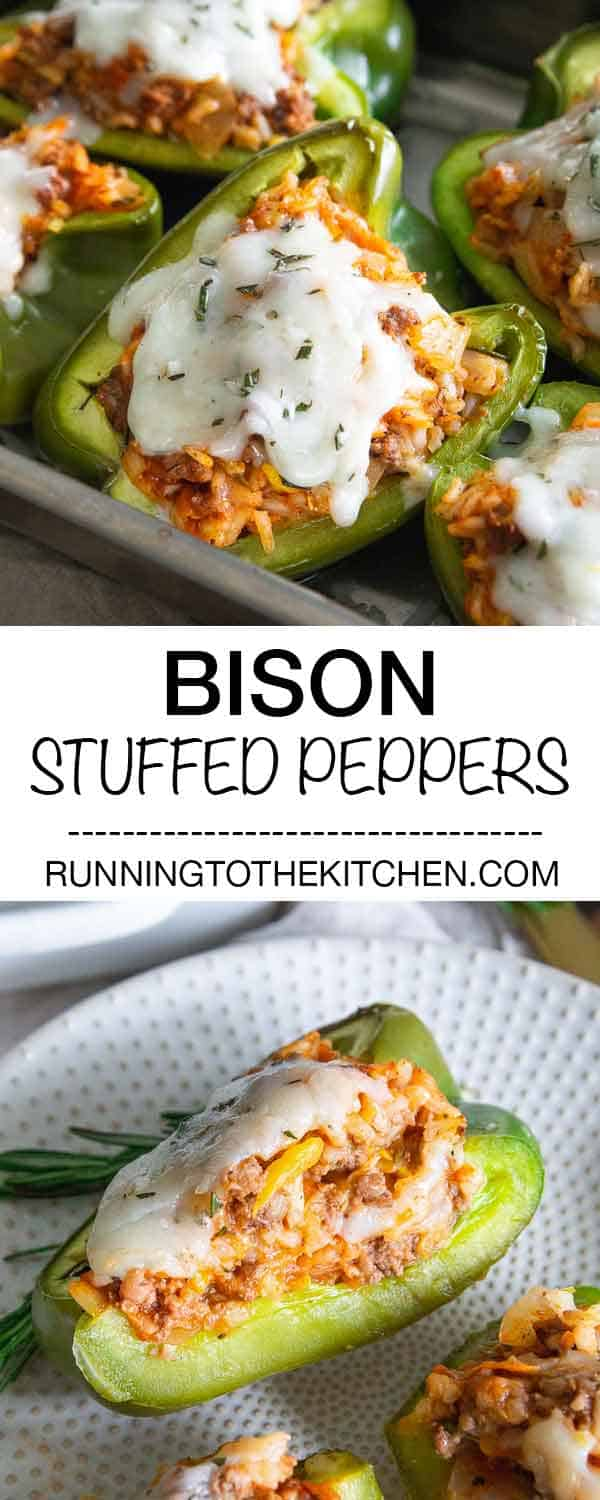 Switch out the beef for bison in this easy stuffed pepper recipe. Filled with ground bison, rice, shredded vegetables and tomato sauce and topped with melted cheddar cheese.