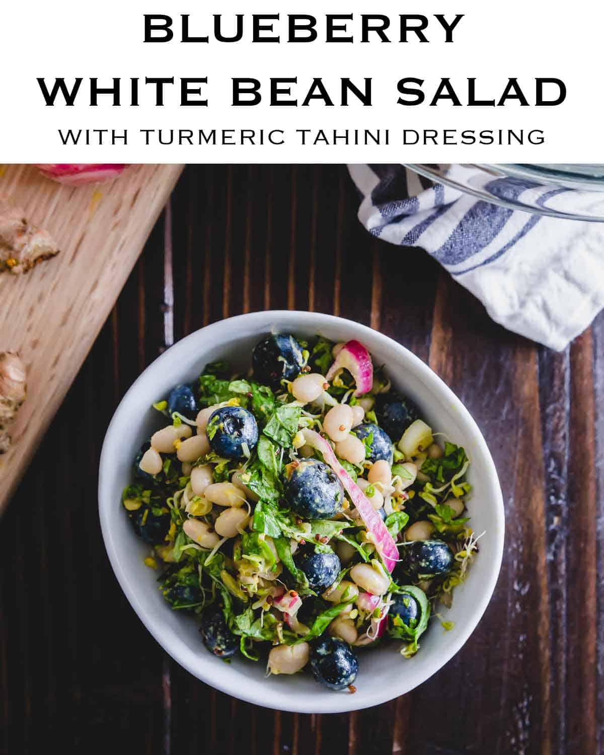 White bean and blueberry salad with tahini turmeric dressing - A nutritious and anti-inflammatory salad that's great as a side dish or a plant-based meal in itself!