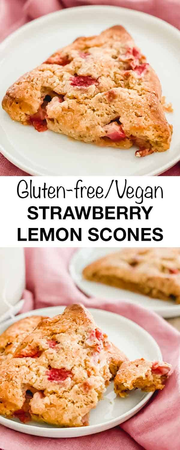 Enjoy these brightly flavored strawberry lemon scones this spring for breakfast, dessert or an afternoon snack. They're great with tea or coffee. Vegan/GF/Grain-free