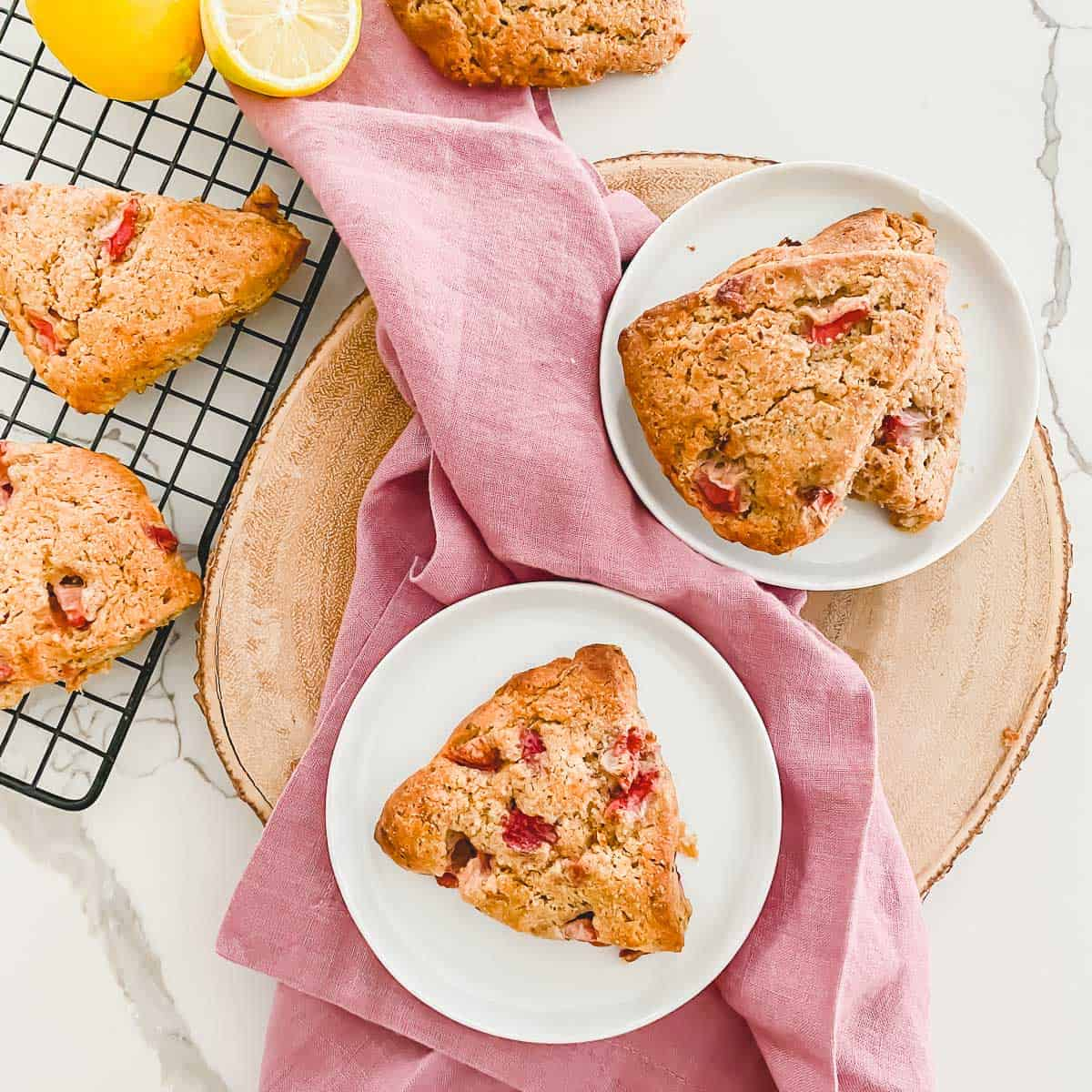 Strawberry lemon scones are great for breakfast or an afternoon snack with their bright lemon and sweet strawberry flavor.