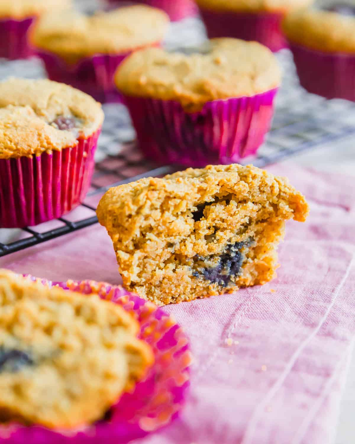 Healthy, vegan gluten-free corn muffins have a lovely crumbly texture and slightly sweet almond cherry flavor.
