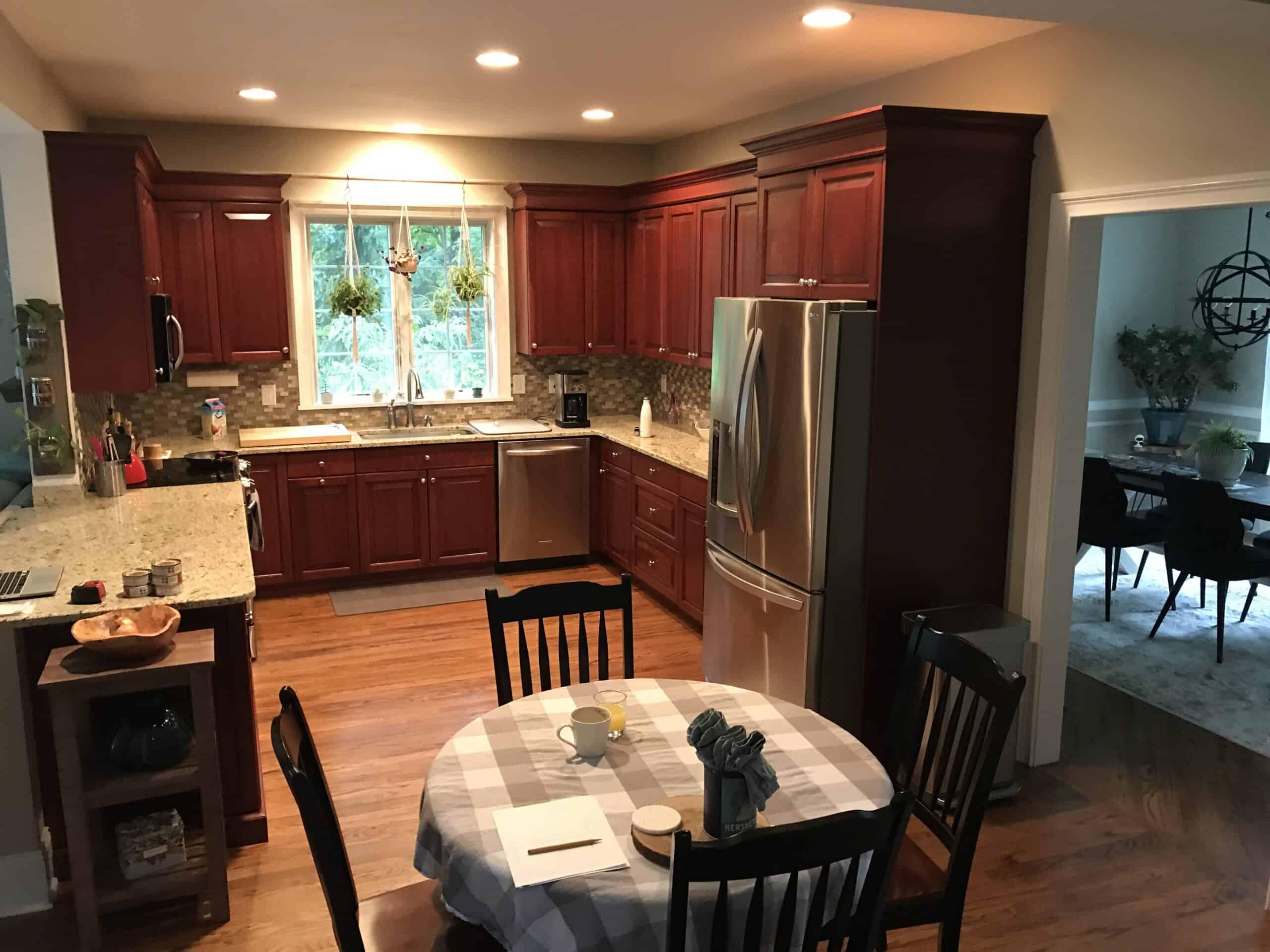 dark cherry cabinet kitchen before remodel