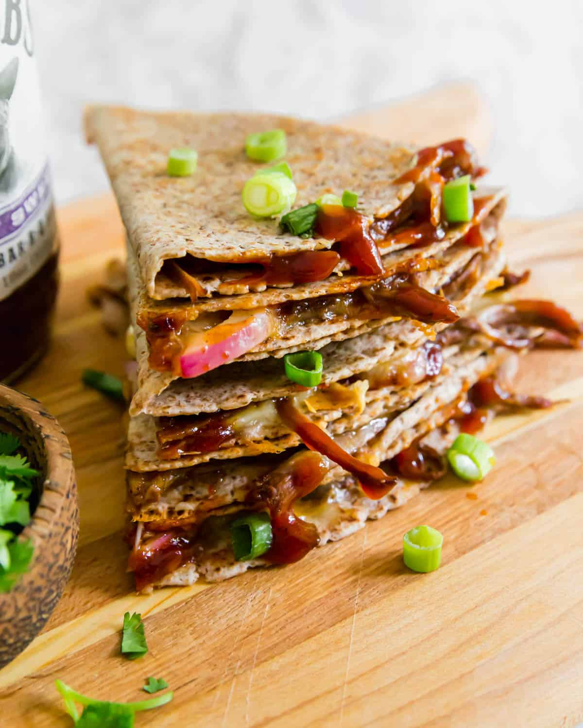 This brisket quesadilla with BBQ sauce and cheddar cheese is a quick and easy meal that's unbelievably delicious.