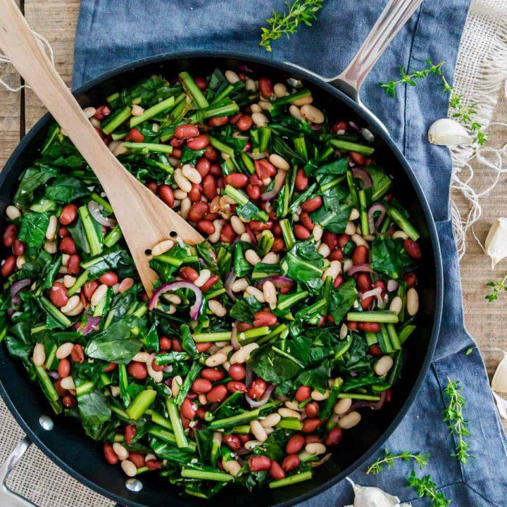 Sautéed dandelion greens with beans skillet