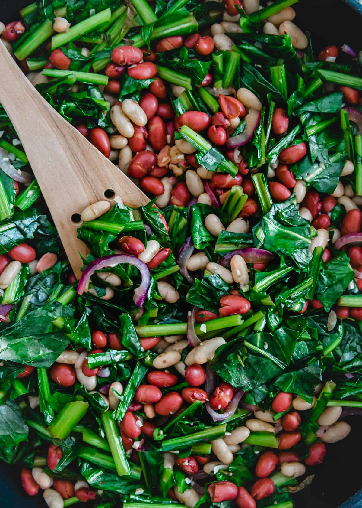 Red onion, cannellini beans, red beans and dandelion greens are sautéed together for an easy vegetarian skillet meal.