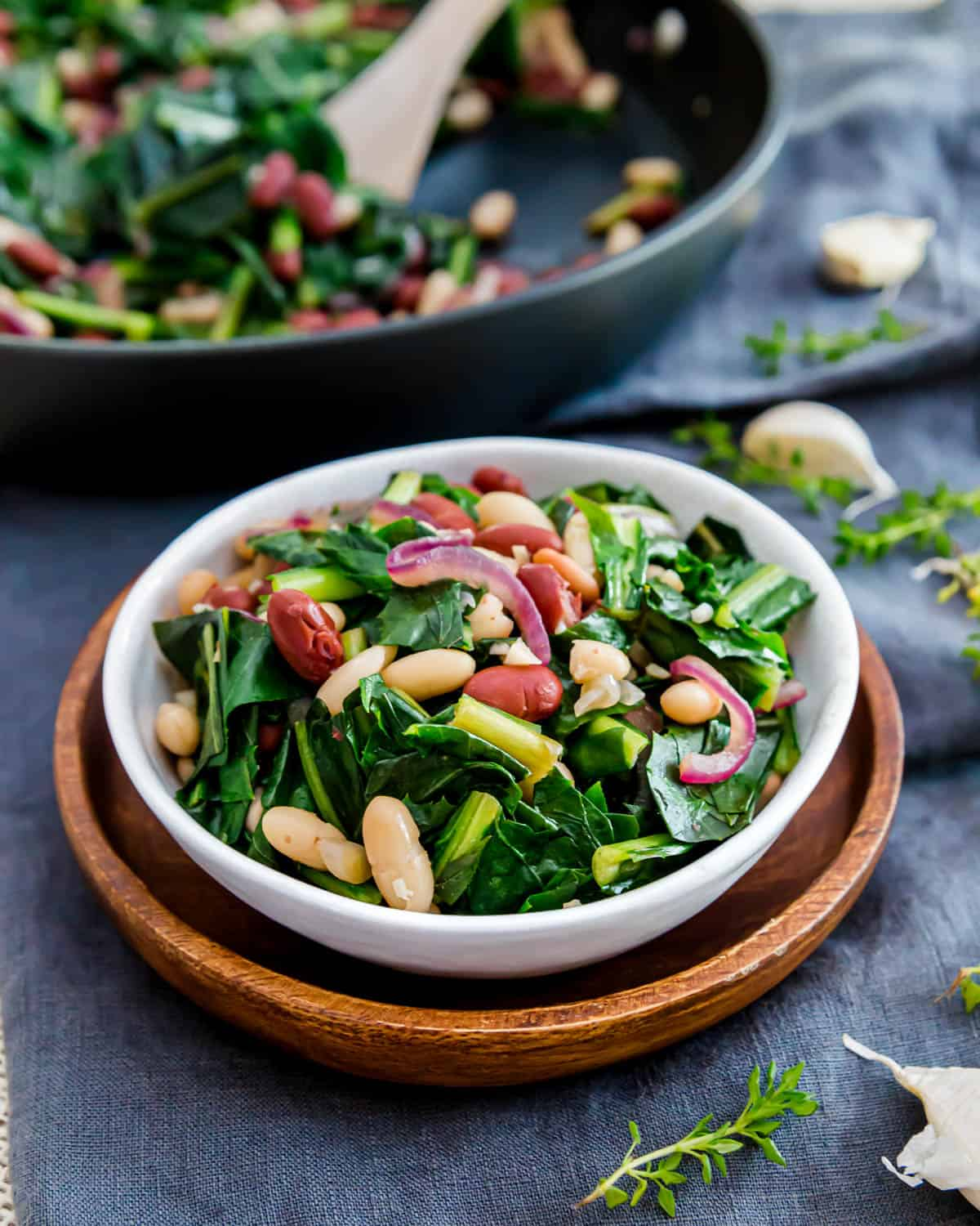 An easy recipe for sautéed dandelion greens with cannellini and kidney beans makes a simple vegetarian meal that's ready in under 30 minutes.
