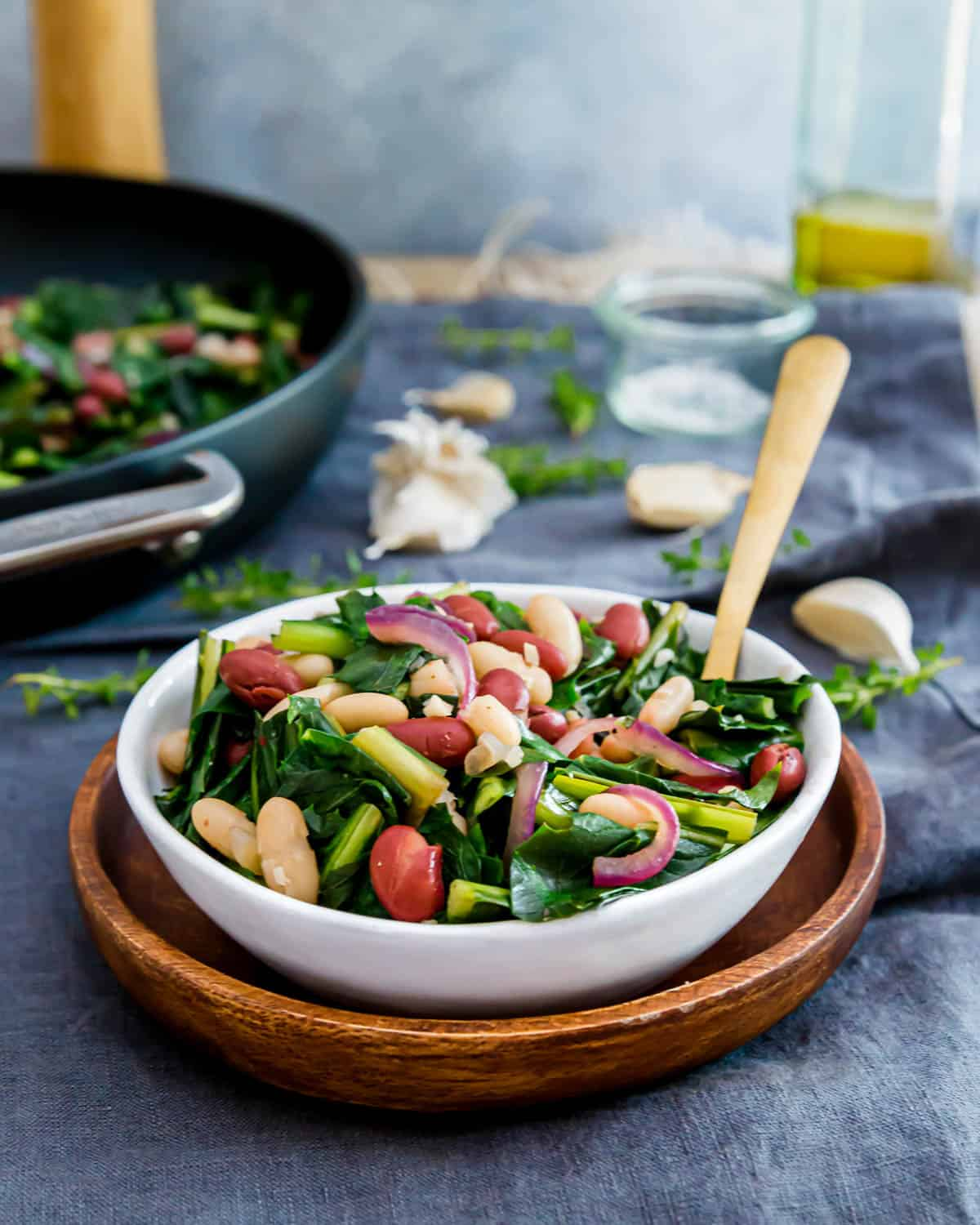 Enjoy nutritious dandelion greens in this easy meatless skillet recipe with beans and red onions.