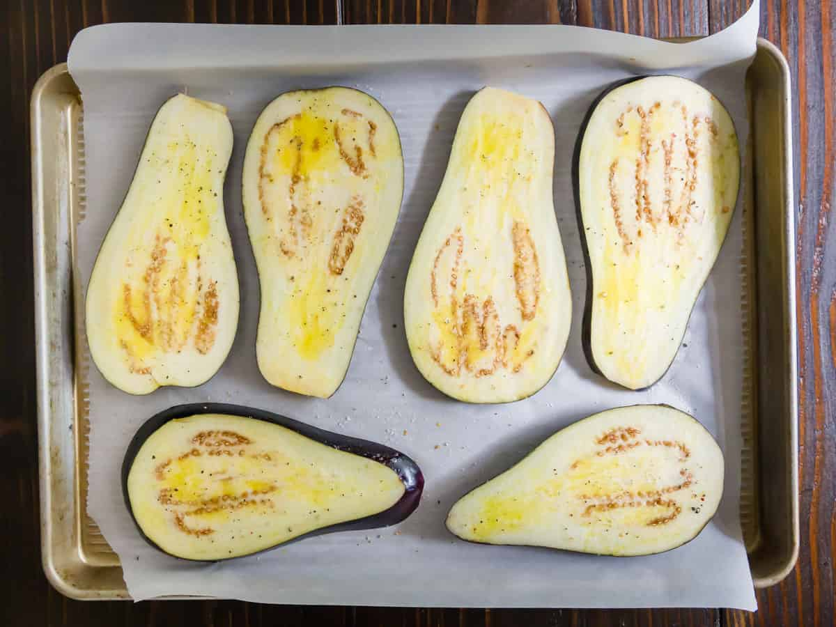 Eggplant slices are pre-baked before stuffing with a lentil, tomato and greens mixture.