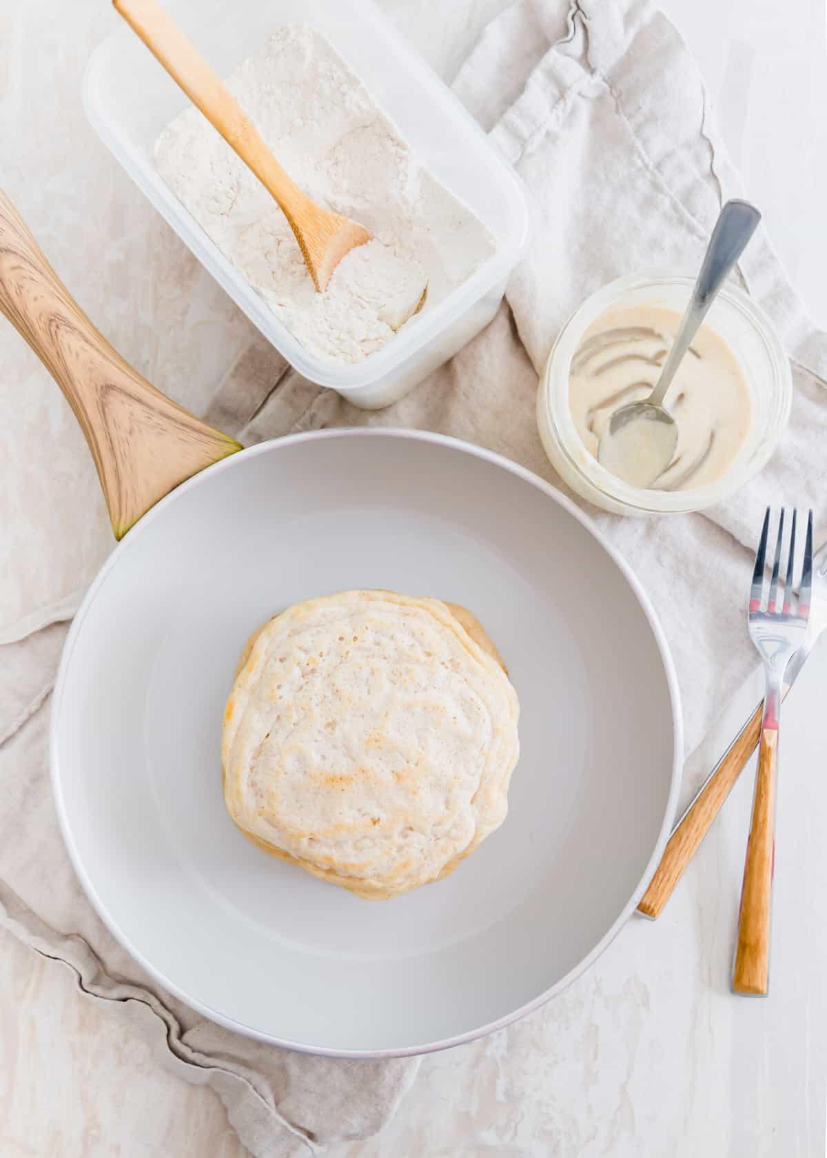Easy sourdough pancakes made with saved sourdough discard.