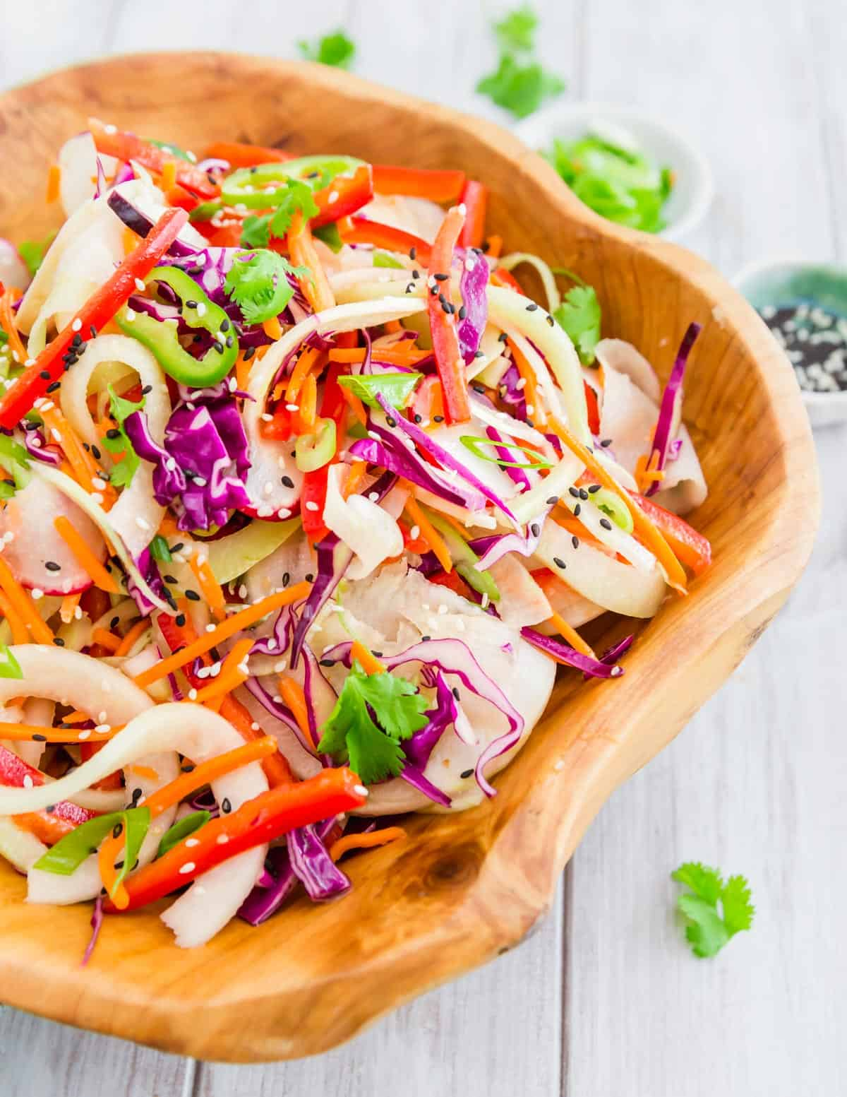 A simple kohlrabi noodle recipe that takes inspiration from the flavors and ingredients of a Thai salad.
