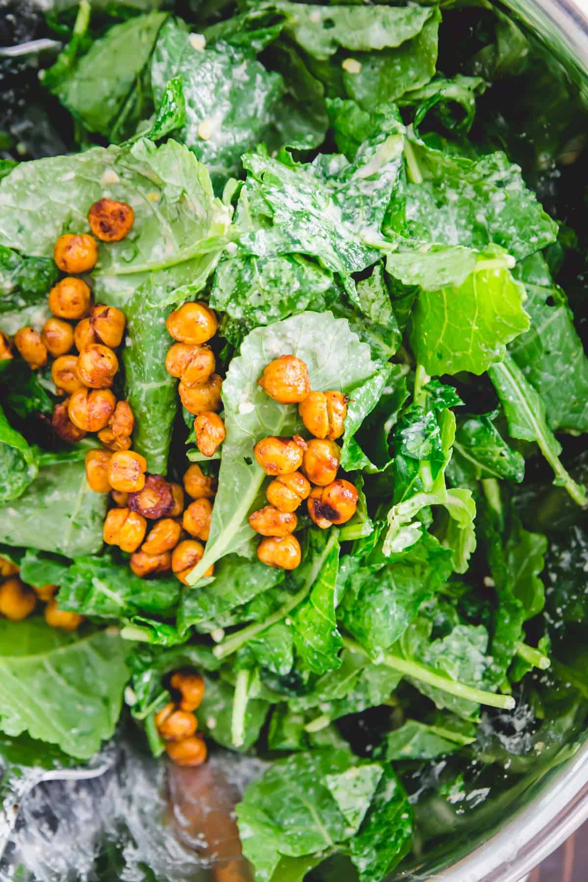 Roasted chickpeas and added to this baby kale salad for some healthy fiber packed protein.