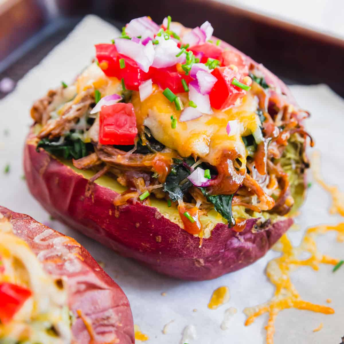 loaded brisket baked potatoes