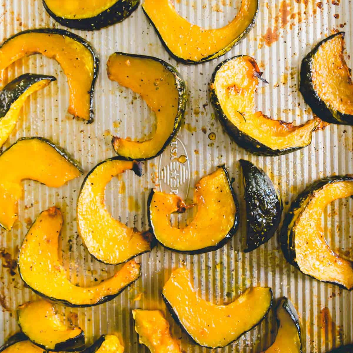 Simple roasted buttercup squash after 40 minutes in the oven with olive oil, salt, pepper and maple syrup.
