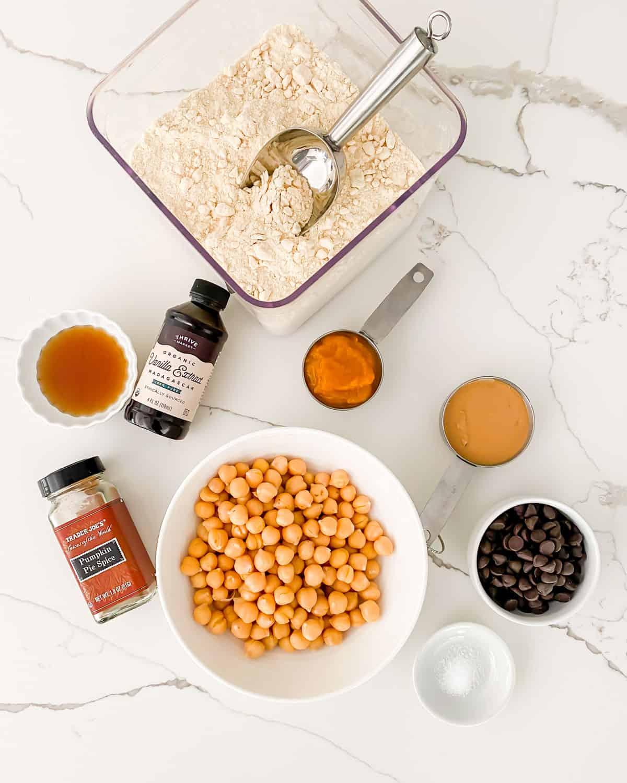 ingredients to make no-bake edible pumpkin cookie dough