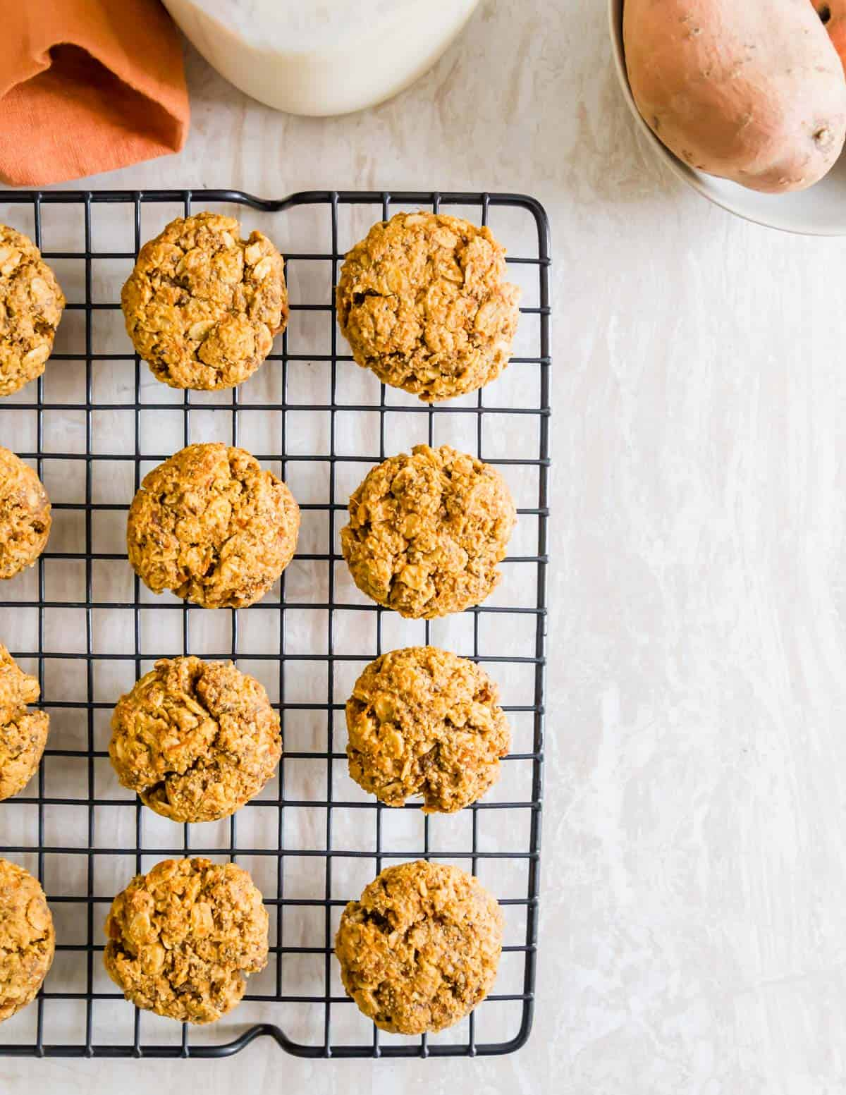 soft chewy sweet potato cookies made with mashed cooked sweet potato, oats and almond flour