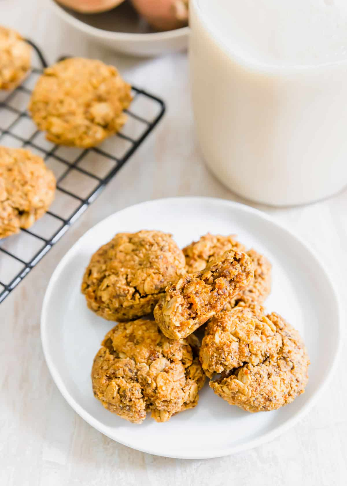Chewy and hearty oat based sweet potato cookies with cinnamon spices
