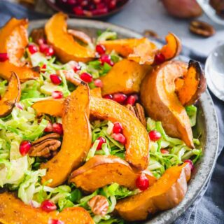 roasted koginut squash salad with shaved brussels sprouts and pomegranates