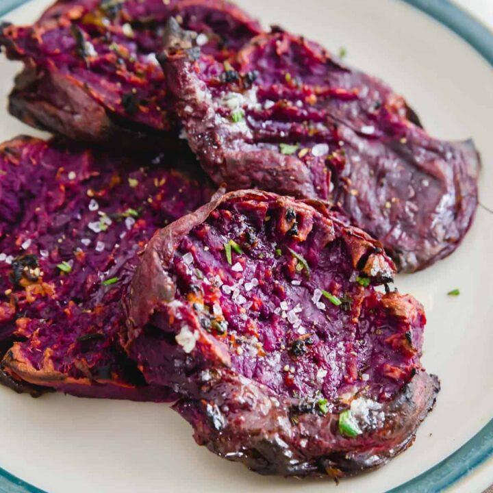 Roasted purple Stokes sweet potatoes