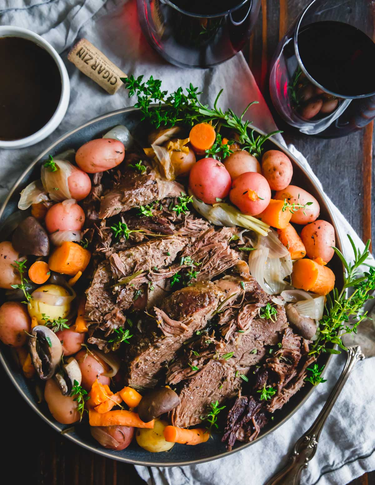 This easy Instant Pot venison roast is cooked with potatoes, carrots, onions and mushrooms for a comforting winter meal.