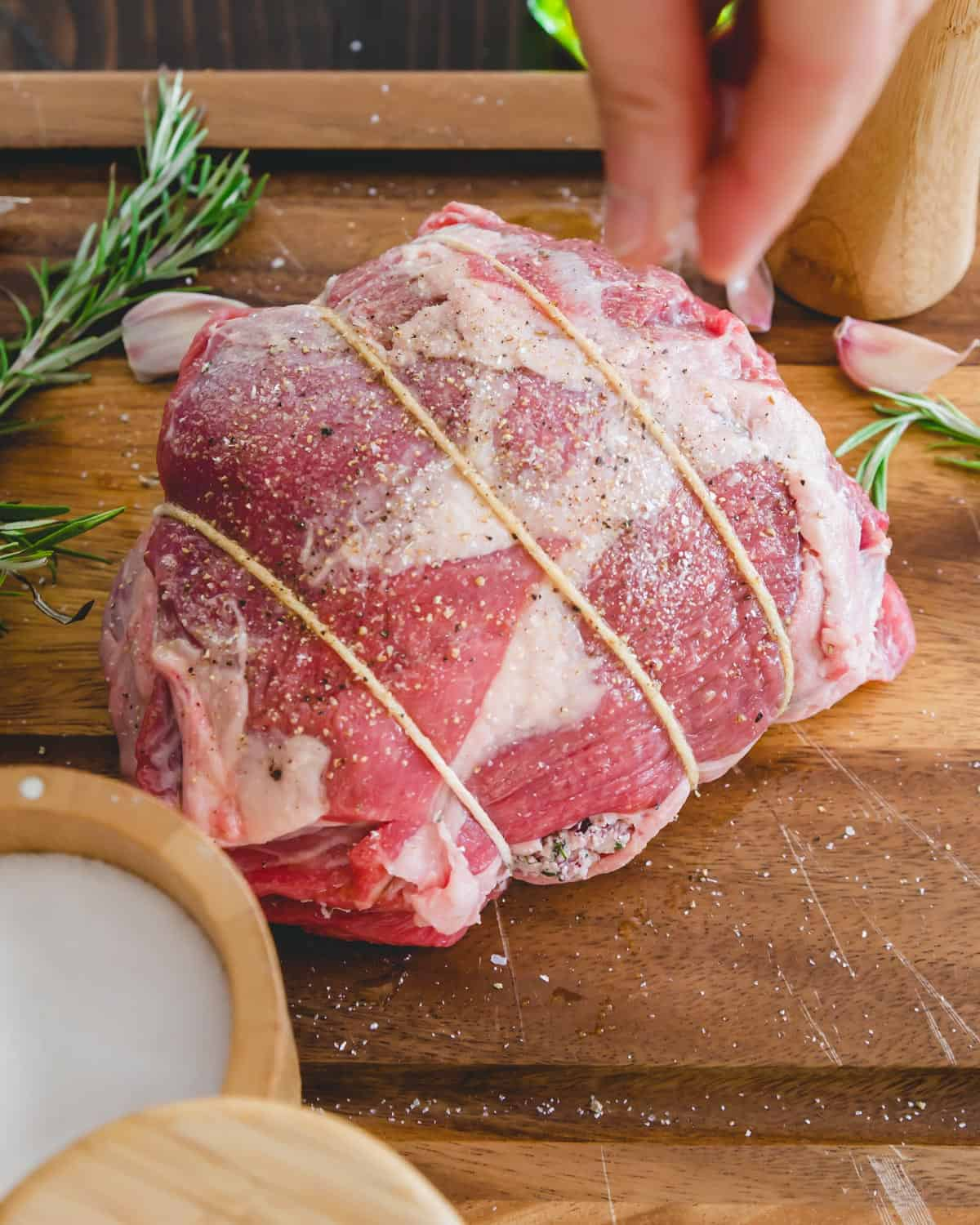tied and stuffed butterflied leg of lamb roast