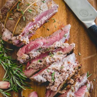 butterflied leg of lamb with cranberry goat cheese stuffing