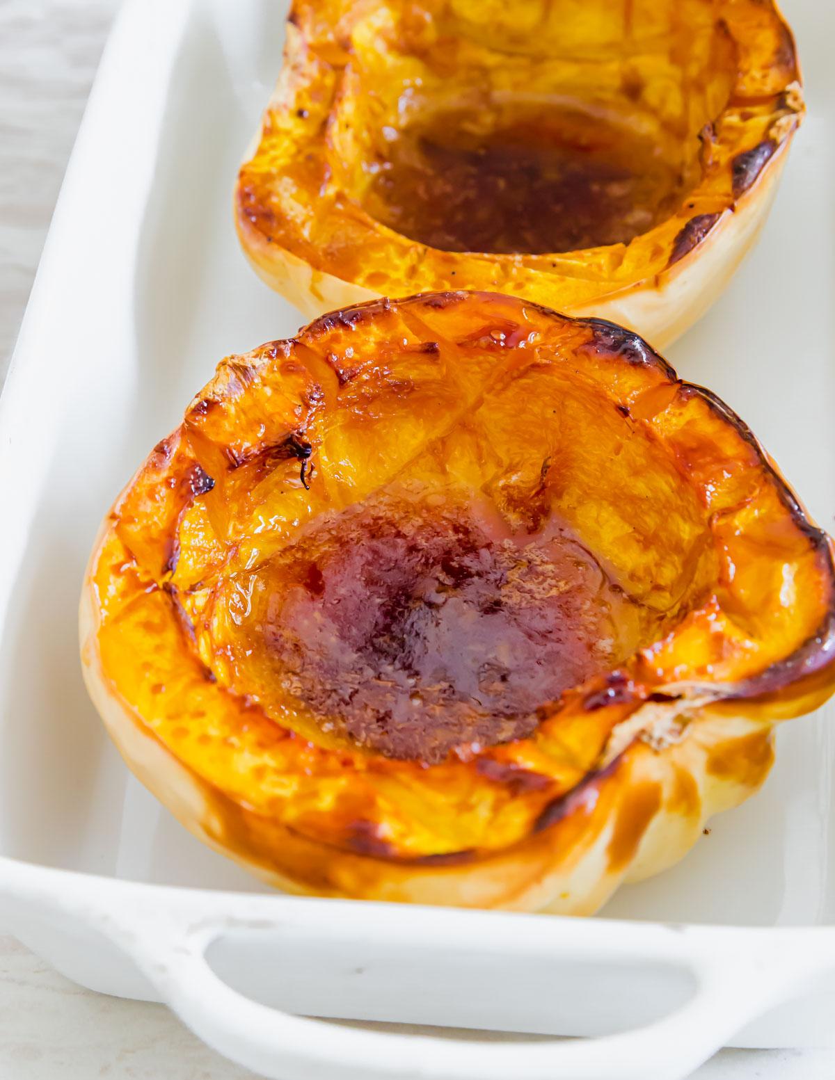 maple baked white acorn squash after baking