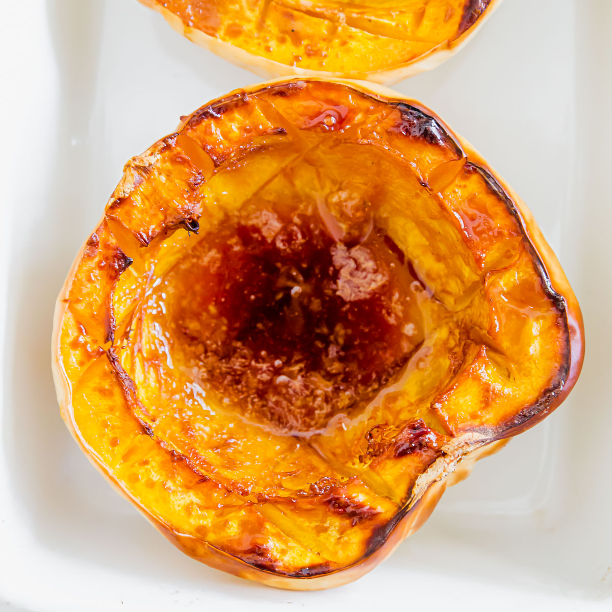 sweet and savory golden maple baked white acorn squash