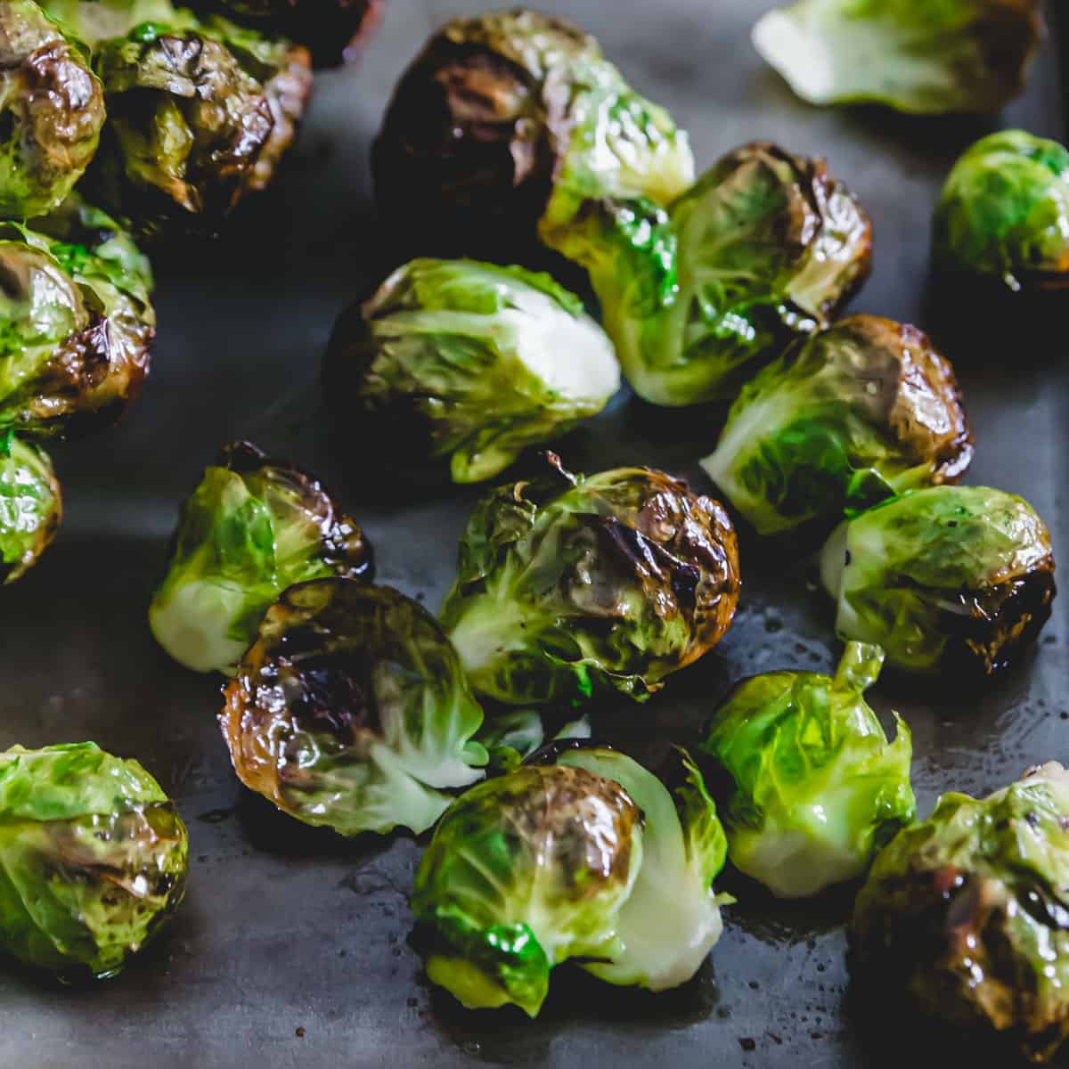 maple roasted Brussels sprouts cut off the stalk.