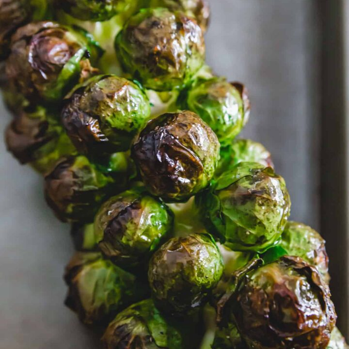 maple roasted brussels sprouts on the stalk