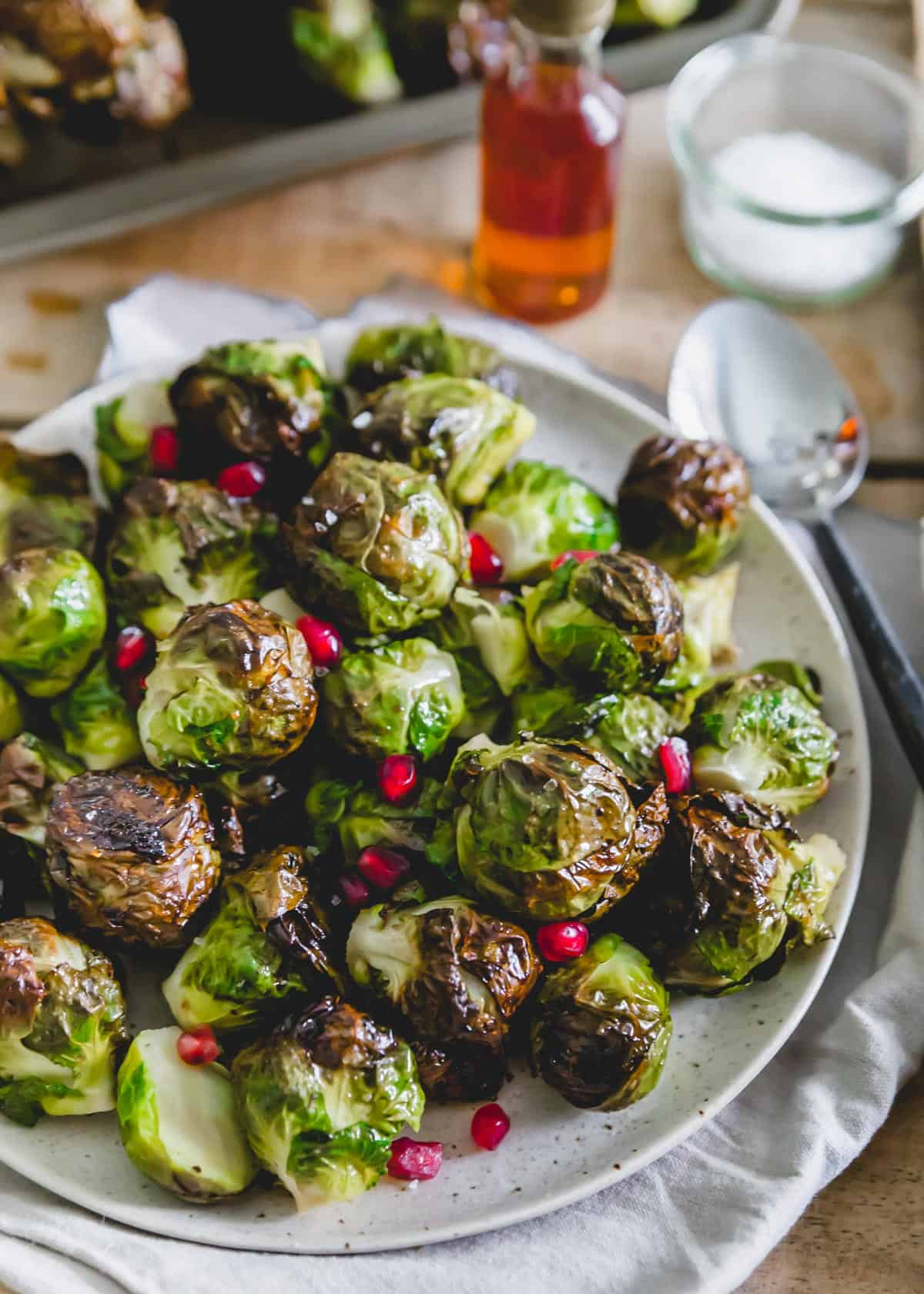 On the stalk maple roasted Brussels sprouts side dish.