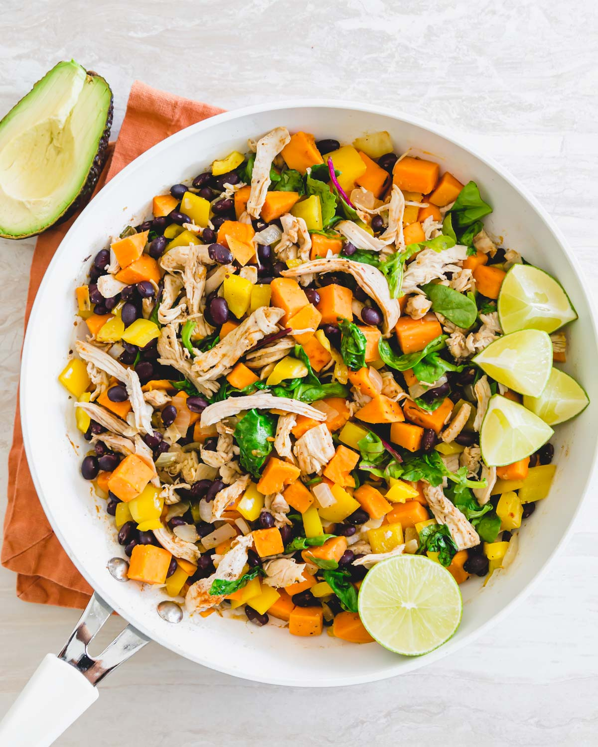 A one skillet healthy meal of leftover turkey, sweet potatoes, black beans with other Mexican style ingredients.
