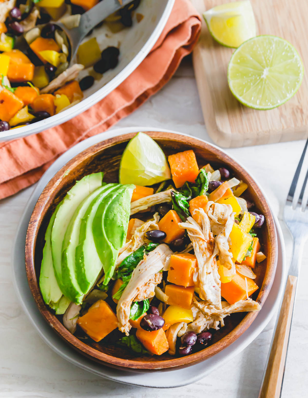 One pan turkey with sweet potatoes, black beans, peppers and onions is a great post-Thanksgiving meal to use up leftovers.