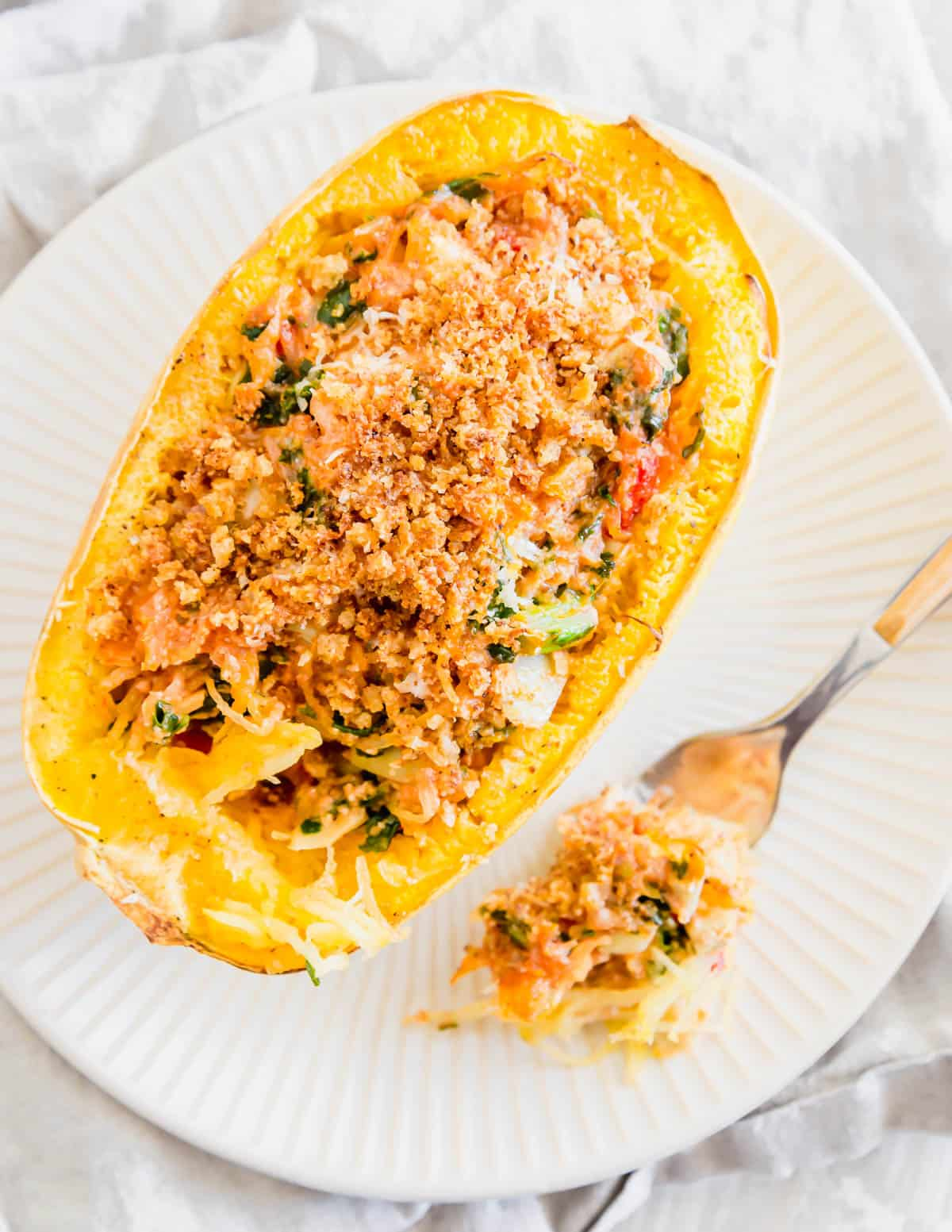 Vegetarian and gluten-free twice baked spaghetti squash is a decadent and comforting fall or winter meal