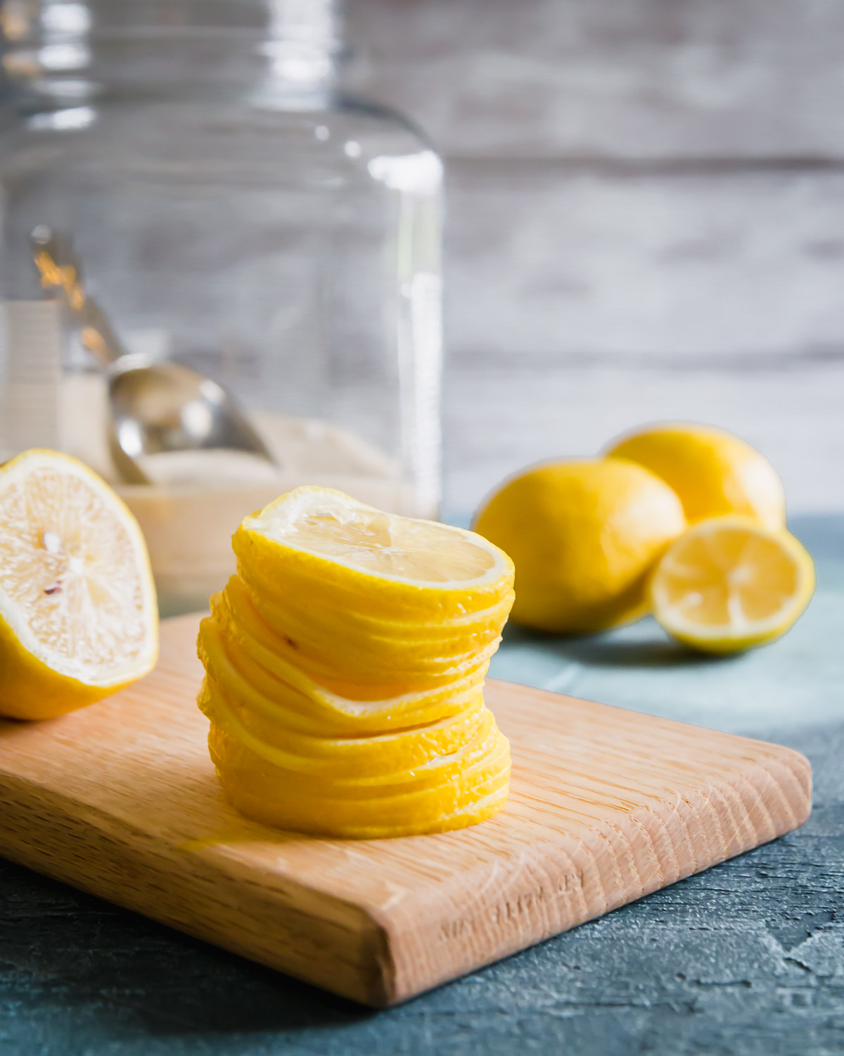 thinly sliced lemons to make candied lemon slices